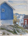 Blue, Yellow and Red Houses and Bergs
